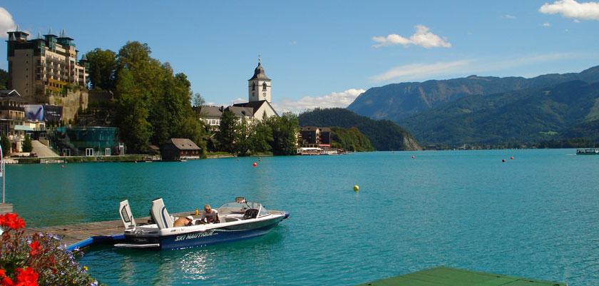 St. Wolfgang, Salzkammergut, Austria - Lake view with boat.jpg